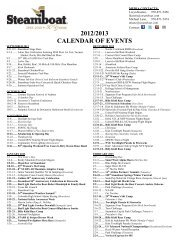 2012/2013 CALENDAR OF EVENTS - Steamboat