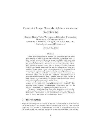 Constraint Lingo: Towards high-level constraint programming