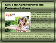 Easy Bank Cards Services and Processing Options