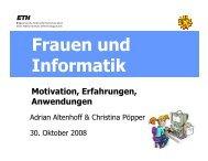 Frauen und Informatik - ETH - Frauenförderung Informatik - ETH Zürich