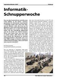 Informatik- Schnupperwoche - ETH Zürich