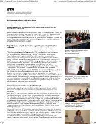 Schnupperstudium Frühjahr 2006 - ETH - Frauenförderung ...