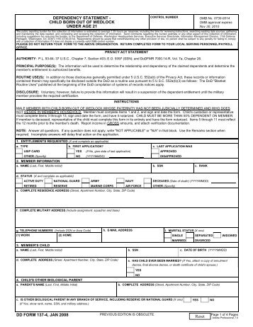 DD Form 137-4, Dependency Statement - Child Born Out of Wedlock ...