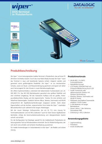 DOS-Terminal in Pistolenform Produktbeschreibung