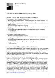 Ausführliche Version Anmeldeverfahren und Aufnahmeprüfung 2012