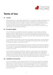 Terms of Use - Fashion for Home