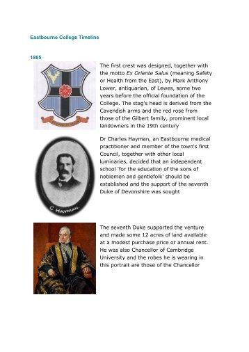 Eastbourne College Timeline 2012|pdf