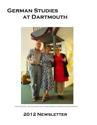 German Studies at Dartmouth - Dartmouth College