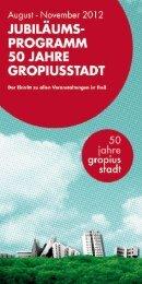 JUBILAUM5 PROGRAMM 50 JAHRE GROPIUSSTADT