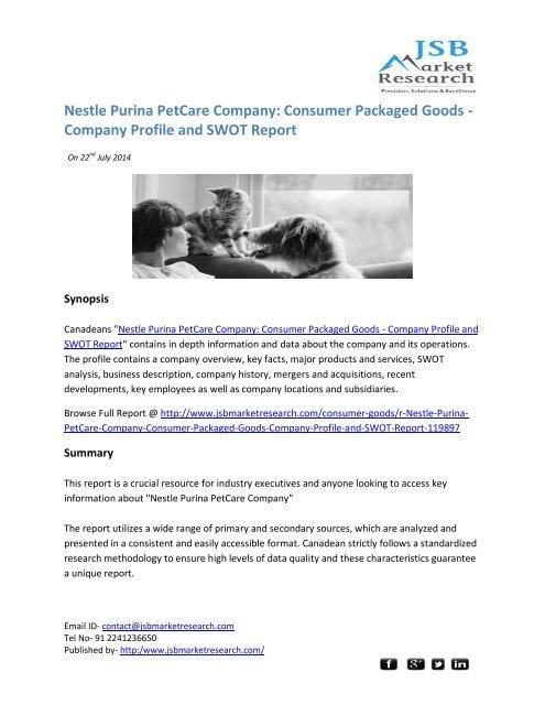 JSB Market Research: Nestle Purina PetCare Company: Consumer