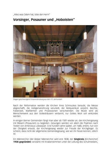 Chronik Kirchenchor - Singkreis Belp