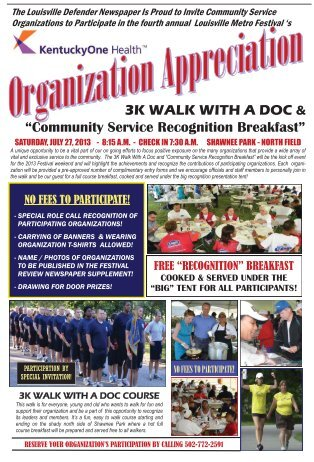 "3K WALK WITH A DOC & ""Community Service Recognition Breakfast"""