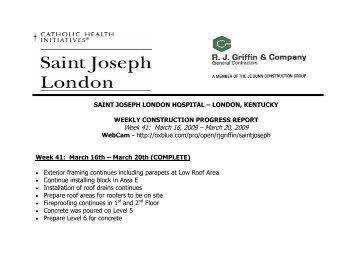 Week 41: March 16, 2009 – March 20, 2009 - Saint Joseph Hospital