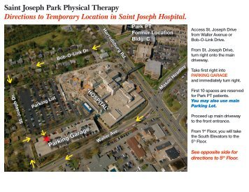 Saint Joseph Park Physical Therapy Directions to Temporary ...