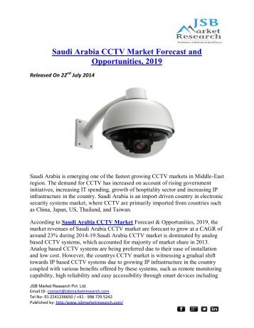 JSB Market Research : Saudi Arabia CCTV Market Forecast and Opportunities, 2019