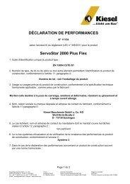 Déclaration de performance (DDP) - Kiesel