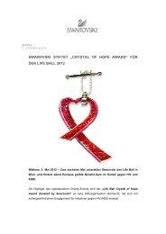 "swarovski stiftet ""crystal of hope award"" für den life ball 2012"