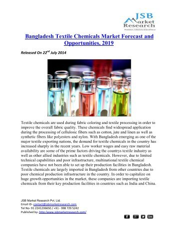 JSB Market Research : Bangladesh Textile Chemicals Market Forecast and Opportunities, 2019