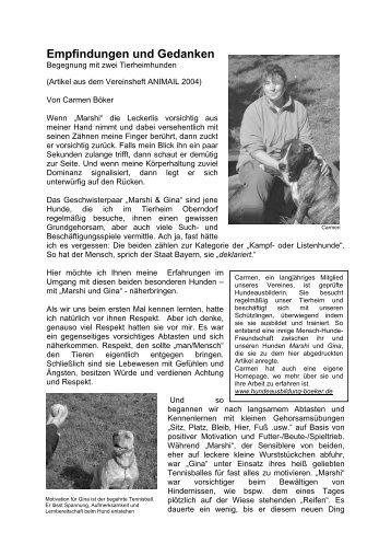 Empfindungen und Gedanken - Hundeausbildung Boeker
