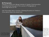 Xiaoxiao Yu, BA (Hons) Photography graduate