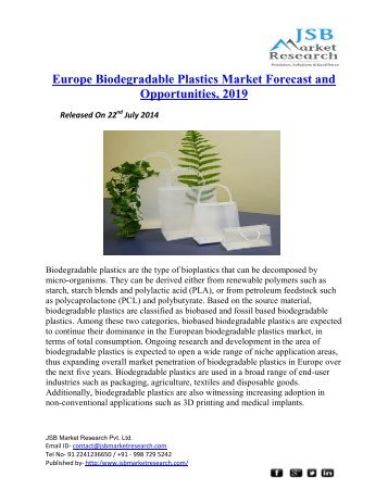 JSB Market Research : Europe Biodegradable Plastics Market Forecast and Opportunities, 2019