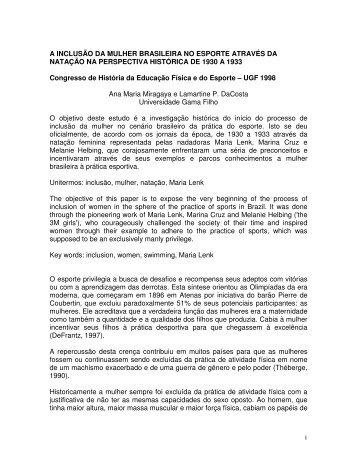 A INCLUSÃO DA MULHER BRASILEIRA NO ... - Sports In Brazil