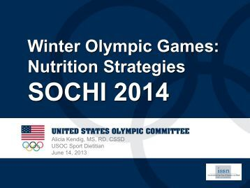 WINTER SPORT NUTRITION - International Society Of Sports Nutrition