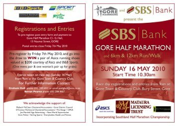 Registrations and Entries - Sport Southland