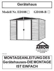 MONTAGEANLEITUNG DES Gerätehauses-DIE MONTAGE IST ...
