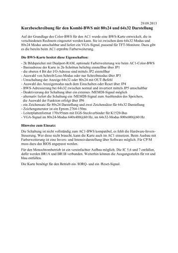 Kurzbeschreibung: Kombi-BWS für 80x24 und 64x32 ... - ac1-info.de