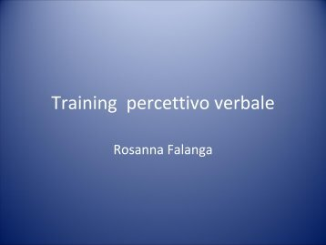 Training percettivo verbale - Il sito di Audiologia dell'Università ...