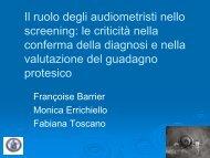 Il ruolo degli audiometristi nello screening - Il sito di Audiologia dell ...
