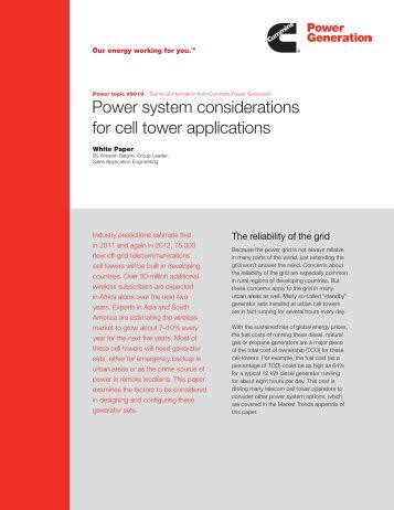 Power system considerations for cell tower applications
