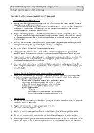 Spesielle regeler for enkelte idrettsanlegg - Norges idrettshøgskole