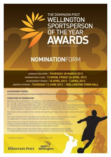 nominationform - Sport Wellington