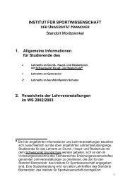 1. Allgemeine Informationen für Studierende des - Institut für ...