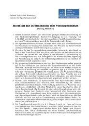 Hinweise zum Vereinspraktikum - Institut für Sportwissenschaft ...