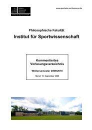 Informationen zu den Studiengängen - Institut für Sportwissenschaft ...