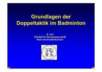 Grundlagen der Doppeltaktik im Badminton - Ruhr-Universität Bochum