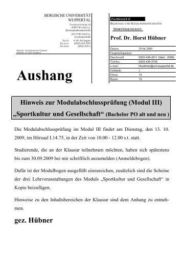 Aushang - Fachbereich Sportwissenschaft der Universität Wuppertal ...