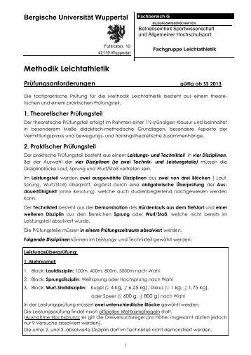 Prüfungsanforderungen (neu - gültig ab SS 2013) - Fachbereich ...