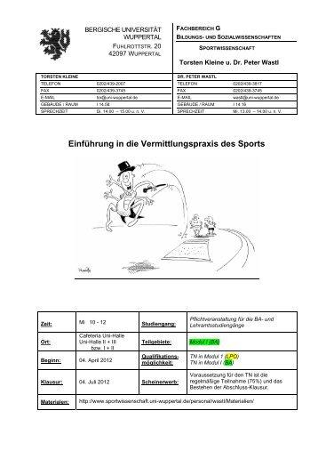 VermPraxSS2012Plan (B). - Fachbereich Sportwissenschaft der ...