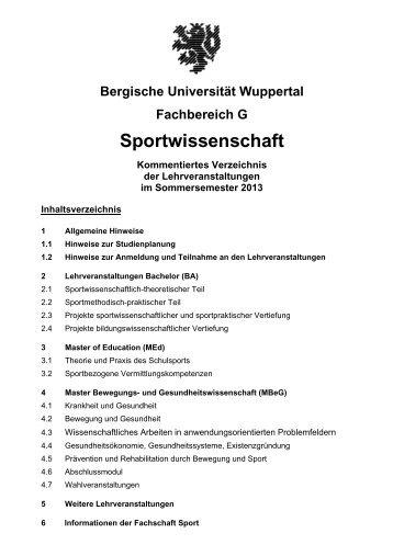 SS 2013 - Fachbereich Sportwissenschaft der Universität Wuppertal ...