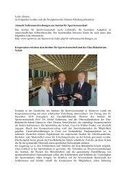 Newsletter Januar2011 - Institut für Sportwissenschaft