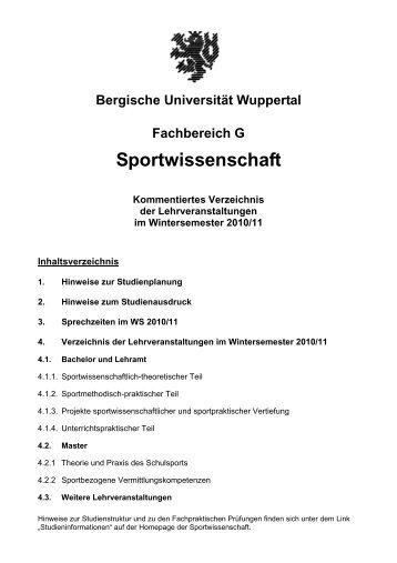 WS 2010/11 - Fachbereich Sportwissenschaft der Universität ...