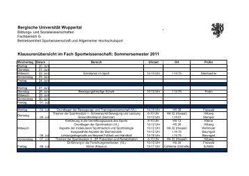 Sommersemester 2011 - Fachbereich Sportwissenschaft der ...