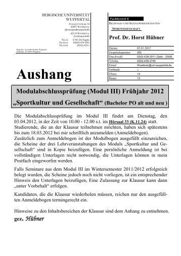 BERGISCHE UNIVERSITÄT - Fachbereich Sportwissenschaft der ...