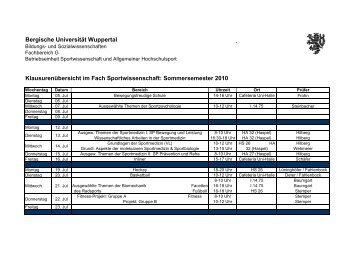 Sommersemester 2010 - Fachbereich Sportwissenschaft der ...