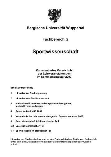 SS 2009 - Fachbereich Sportwissenschaft der Universität Wuppertal ...