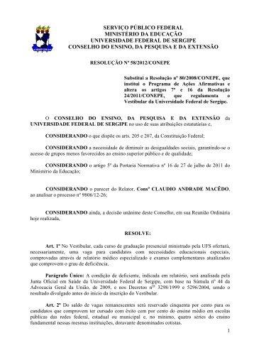 Resolução nº 58/2012/Conepe - Elite Pré-Vestibular-Campinas